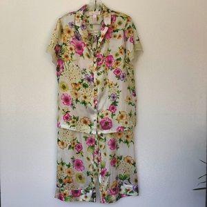 💛Oscar de la Renta Pink Label Satin Floral Pajama Set Medium